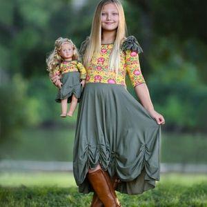 Lilli lovebird mustard & green dolly and me dress